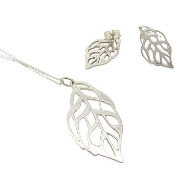 Rose Leaf Pendant And Earring Gift Set