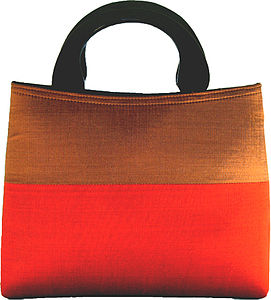 Contemporary Striped Handmade Silk Handbag