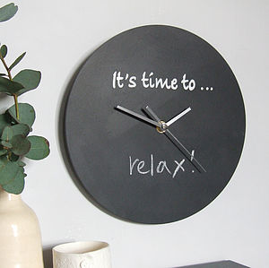 'It's Time To' Personalised Blackboard Clock - office & study