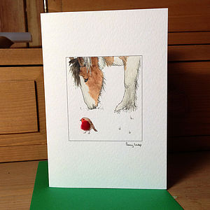 Horse And Robin Christmas Card - cards & wrap