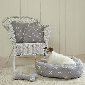 French Grey Donut Dog Bed