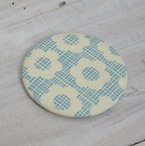 Blue Flowers Fabric Compact Mirror