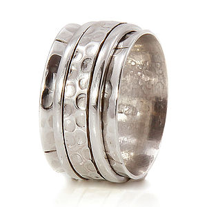 Chunky Karma Sterling Silver Spinning Ring - rings