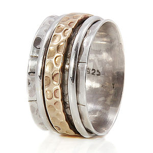Karma Bronze And Silver Spinning Ring - rings