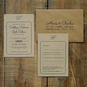 Heart And Arrow Kraft Wedding Invitation - invitations