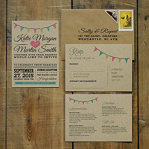 Vintage Bunting Kraft Wedding Invitation - wedding stationery
