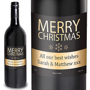 Merry Christmas Personalised Wine - food gifts
