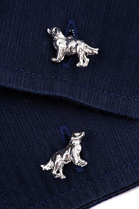 Sterling Silver Retriever Cufflinks