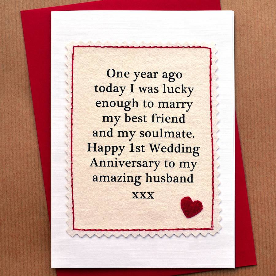 JENNY ARNOTT CARDS GIFTS HANDMADE FIRST ANNIVERSARY CARD First Wedding Anniversary Gift Ideas For My Wife