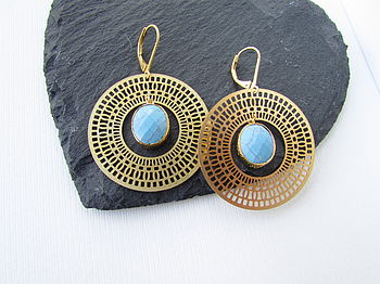 Gold Turquoise Hoop Earrings