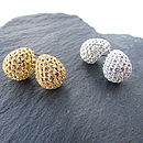 Silver And Gold Nugget Stud Earrings