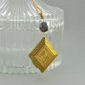 Diamond Shaped Brass Locket - necklaces & pendants