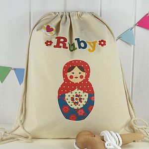 Girl's Personalised Doll Print Kit Bag - children's accessories
