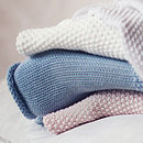 Baby blanket available in soft grey, cream, vintage pink and dusky blue