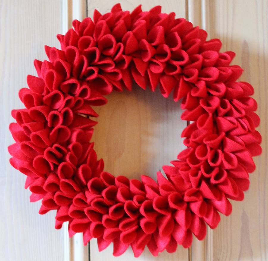 Decorative Christmas Felt Wreath By Sandy A Powell