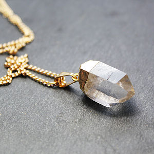 Hand Cut Quartz Pendant - gemstones