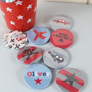 Boy's Personalised Badges Or Magnet Set