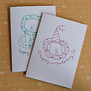 Double Lion Two Screenprinted Cards