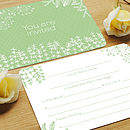 Flora and fauna green wedding invitation