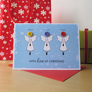 Button Angel Christmas Card - cards & wrap