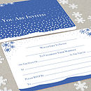 Winter's Tale navy wedding invitation