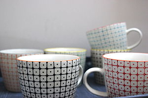 Set Of Six Hand Painted Danish Mugs