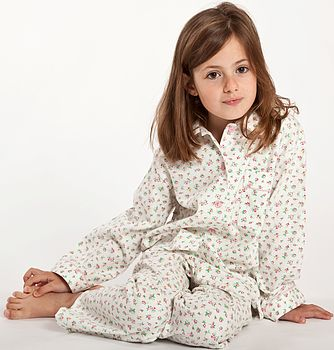 Pale Pink Floral Pyjamas For Girls