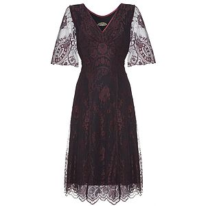 Cathleen Dress In Garnet Lace - women's fashion