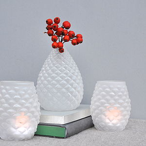 Frosted Glass Pinecone Tea Light And Vase - candles & candlesticks