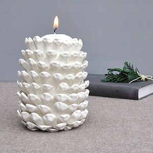 Porcelain Pinecone Candle Holder - lighting