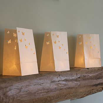 Set Of Five Paper Butterfly Candle Lanterns