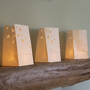 Set Of Five Paper Butterfly Candle Lanterns - outdoor lights