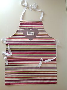Personalised Child's Stripe Heart Apron - toys & games