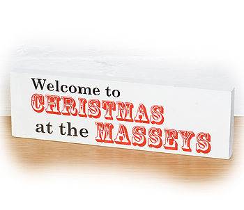 Personalised Christmas Welcome Sign