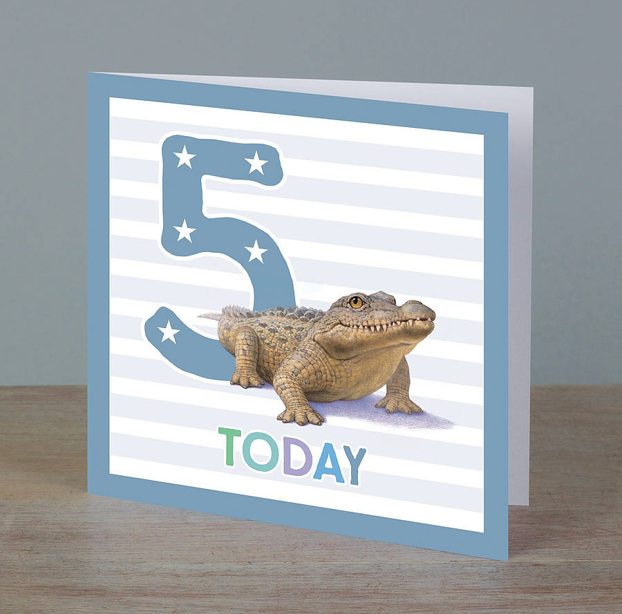Illustrated Animal Boy Age 5 Birthday Card