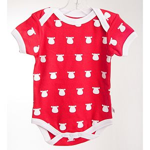 Organic Red Bodysuit White Cow Print - baby & child christmas clothing