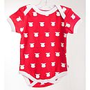 Organic Red Bodysuit White Cow Print