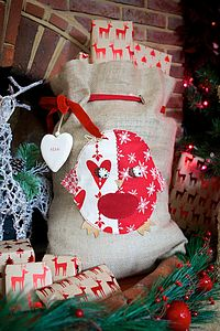 Personalised Robin Santa Sack - stockings & sacks