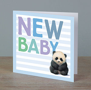 Illustrated Animal New Baby Boy Card - new baby cards