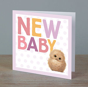 Illustrated Animal New Baby Girl Card