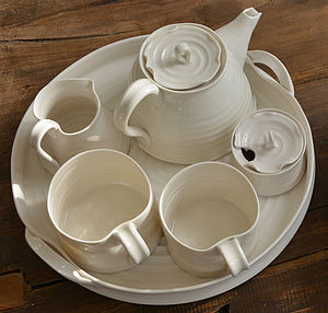 Hand Thrown Porcelain Mug Set - trays