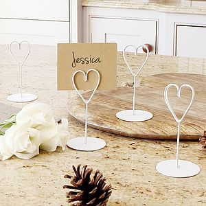 Ivory Heart Place Name Holders - table decorations
