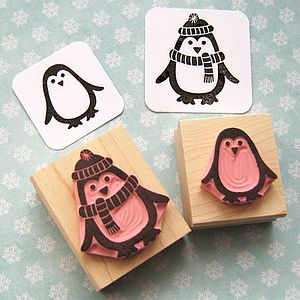 Chilly Penguin Hand Carved Rubber Stamp - cards & wrap