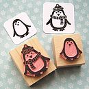 Chilly Penguin Hand Carved Rubber Stamp