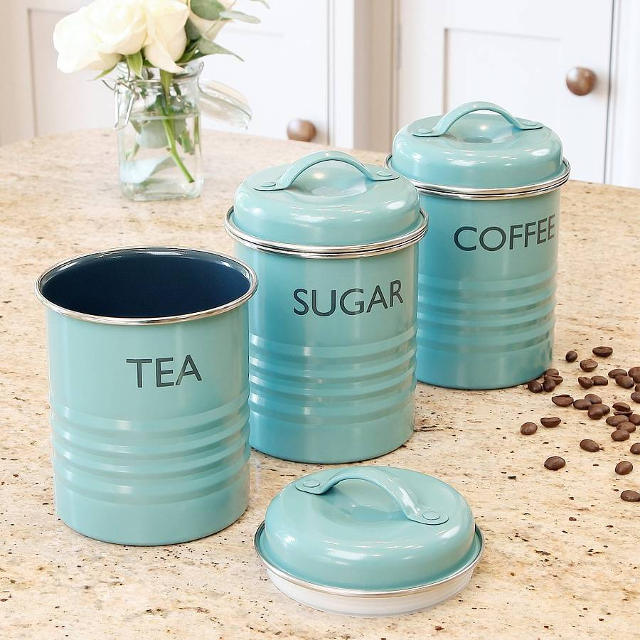 vintage blue tea coffee sugar canister set by dibor