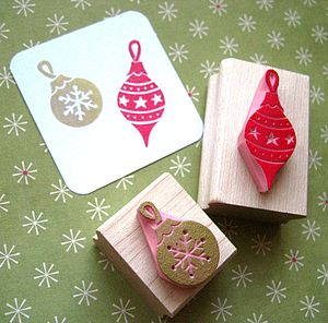 Christmas Baubles Hand Carved Rubber Stamps - cards & wrap