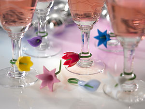 Flower Wine Charms - drink & barware