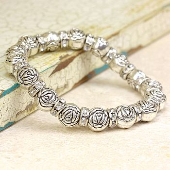 Silver Rose And Gem Friendship Bracelet