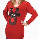 Squeaky Nose Rudolph Christmas Jumper Dress Brown