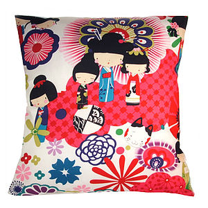 Cool Japanese Dolls Red Retro Modern Cushion - children's room